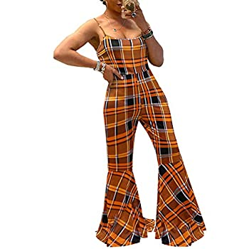 ECHOINE Women s Sexy Spaghetti Strap Bodycon Jumpsuits Sleeveless Flares Long Pants One-Piece Rompers Clubwear Orange XL