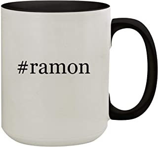 #ramon - 15oz Hashtag Colored Inner & Handle Ceramic Coffee Mug, Black