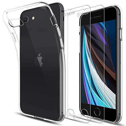 LK Coque Compatible avec iPhone SE 2020/7/8, 2 × Verre Trempé Protection écran, Souple Flexible Silicone Gel TPU Housse Case, Transparent iPhone SE 2020/7/8 Cover- Clair 4.7 Pouces