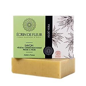 Écrin De Fleur | Jabón de Aloe Vera | Certificado Orgánico | Hecho a Mano en Francia con Zumo de Aloe Vera | Saponificación en Frio | Apto para el Lavado Frecuente de las Manos | 100g