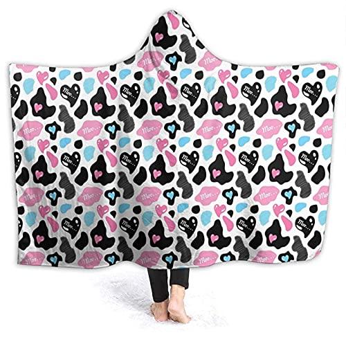 Manta con capucha – Abrigo de piel de vaca con corazones Moo Love con capucha, manta de forro polar, súper suave y cálida, 152 x 127 cm