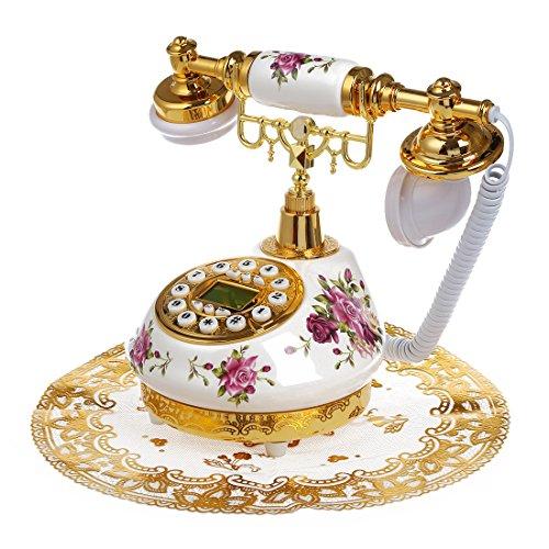 SODIAL (R) Stile Retro antiquariato ceramica floreale telefono da tavolo Decorazione casa