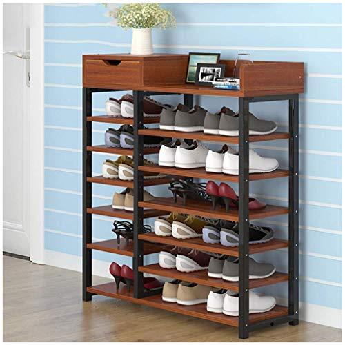 HLL Zapatero de múltiples capas simple para el hogar, ahorro de espacio, gabinete de almacenamiento multifunción, puerta pequeña, zapatero, color chocolate