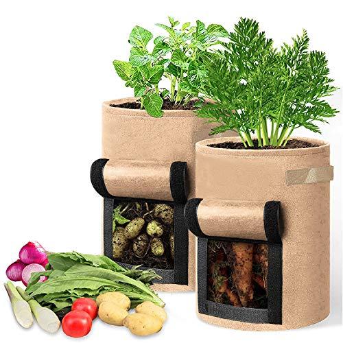 Xnuoyo Sacs de Culture pour Pommes de Terre, 10 Gallons Sac de Culture de Pommes de Terre Tomates, Réutilisable Pots en Tissu Non-tissé pour Pommes de Terre, Carottes et tomates-Khaki, 2pcs