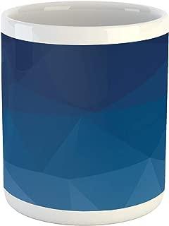 Ambesonne Blue Mug, Ocean Associative Origami Mosaic Polygonal Print, Ceramic Coffee Mug Cup for Water Tea Drinks, 11 oz, Cobalt Blue Violet Blue
