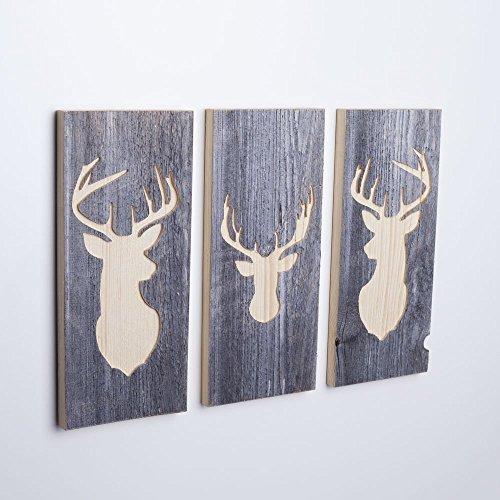 Woods 3er-Set Wand-Bilder mit Hirsch-Motiv I Wanddekoration aus Holzhandgefertigt in Bayern I echte Hüttenholz-Unikate I moderner Vintage-Look für Wohn- & Schlaf-Zimmer I 3 Stück 35 x 15 x 2 cm