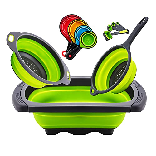 Upgraded Colander Collapsible Over the Sink Strainer Vegetable /Fruit/Pasta Colander With Extendable Thickened Handles & Measuring Cups and Spoon set, Folding Strainer for Kitchen (Green)