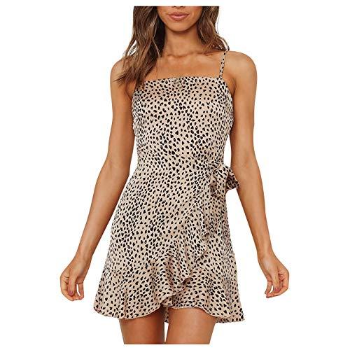 YANFANG Vestido Mini con Estampado de Leopardo a la Moda para Mujer, Vestido con Cordones y Eslinga Sexy,, L,Brown