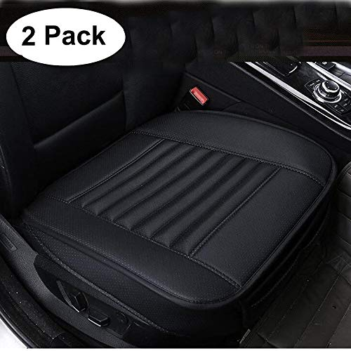 Angrylife 2PCS Car Seat Cushion Cover Pad,Front Seat Protector with PU Bottom Car Seat Covers Black
