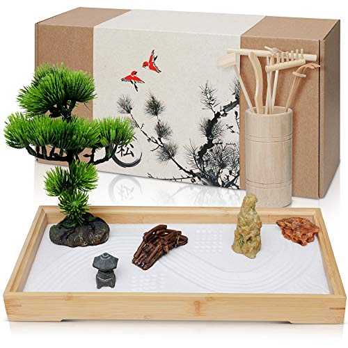 Japanese Zen Garden for Desk - Extra Large 16' x 8' Desktop Mini Zen Garden with White Sand, Artificial Bonsai Tree, Rocks, Rakes & Accessories - Meditation Zen Gifts Sand Garden Kit for Office Decor