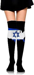 Jesse Tobias, Bandera de Israel Mapa americano Calcetines altos hasta la rodilla Medias altas sobre la rodilla Medias altas