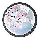 Gbziyjk Perillas para cajones Vidrio Redondo de Cristal Tiradores de Armario, 4 Piezas,Cereza Japonesa