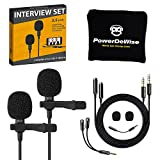 Professional Grade 2 Lavalier Lapel Microphones Set for Dual Interview - Double Lav Microphone - Perfect as Blogging Vlogging Interview Microphone for iPhone