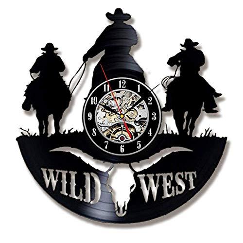 ZQCZ Reloj de Pared de Vinilo Creativo Western Cowboy Salón Dormitorio Decoración del Hogar Reloj Mute Reloj de Pared Reloj de Cuarzo
