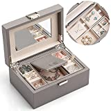 Jewelry Box for Women Girls, 2 Layer Travel Jewelry Organizer Case, PU Leather Medium Jewelry Storage with Removable Tray for Necklace Earrings Rings Bracelets, Birthday Vintage Gift, Grey