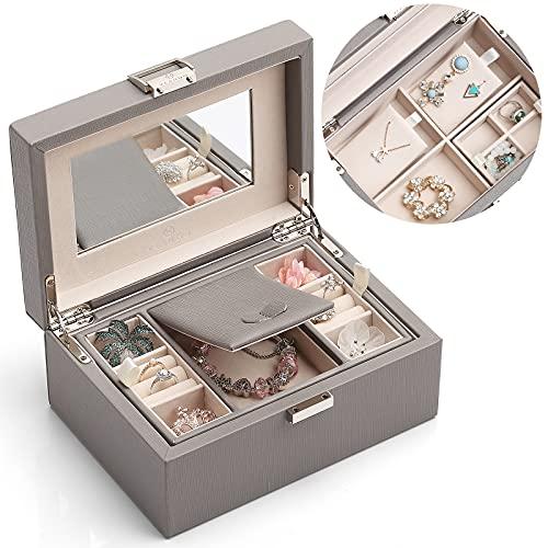 Jewelry Box for Women Girls, 2 Layer Travel Jewelry Organizer Case, PU...