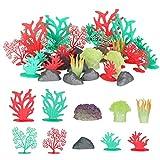 MERIGLARE Paquete de 32 Plantas Artificiales para Peceras de Acuario, Ornamentos de Coral para Paisajismo