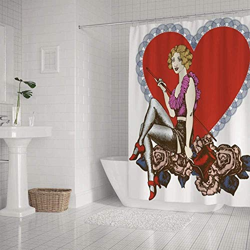 QAZX Badezimmer Duschvorhang Wasserdichtes Kabarett Burlesque Singer Retro Frauen 180x180cm