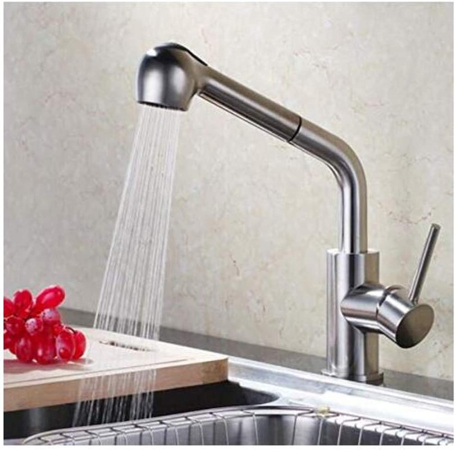 Kitchen Brass Hot and Cold Water Faucet Washbasin Mixer Steel Pull Out Spring Kitchen Faucet Swivel Spout Vessel Sink Mixer Tap