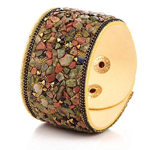 Pulseras de cuero anchas del estilo punky de las mujeres Pulsera de cristal natural de la grava del grava Minzhi