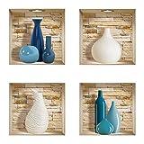 The Nisha DIY Pegatinas Etiquetas para Pared Desmontables de Vinilo 3D Arte Mágico, Conjunto de 4, Piedras azules y blancas