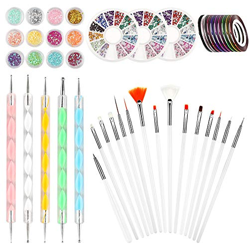 45 Stück Nageldesign Zubehör Set, Nail Art Tools mit 15 Nageldesign Pinsel/ 5 Dotting Stifte/ 3 Boxen Nagel Strass/ 10 Rollen Nail Art Stripes/12 Glitter für Nageldesign Nailart Kunst Dekoration