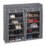 Relaxdays Tela, 12 Compartimentos, 36 Pares de Zapatos, Funda extraíble, Zapatero, 107 x 115 x 30 cm, Color Antracita, vellón