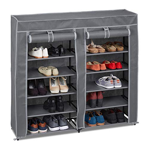 Relaxdays Tela, 12 Compartimentos, 36 Pares de Zapatos, Funda extraíble, Zapatero, 107 x 115 x 30 cm, Color Antracita
