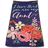 huibe Me Encanta Que Seas mi tía Flor Toallas-Toallas de Cocina - Lavable a máquina para la Cocina, toallita y Toalla para secar, Limpiar (30x70cm)