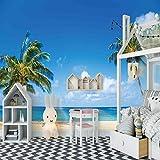 SFALHX Papel pintado Murales Playa soleada de la costa pared no tejido papel de pared dormitorios/salón/hotel /250x175cm (98.4x68.9 pulgadas)
