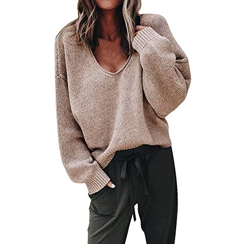 OSYARD Damen Strickpullover,Pullover,Sweater, Frauen Strickcardigan Cardigan Tiefem V-Ausschnitt Langarm Einfarbig Bluse Pulli...