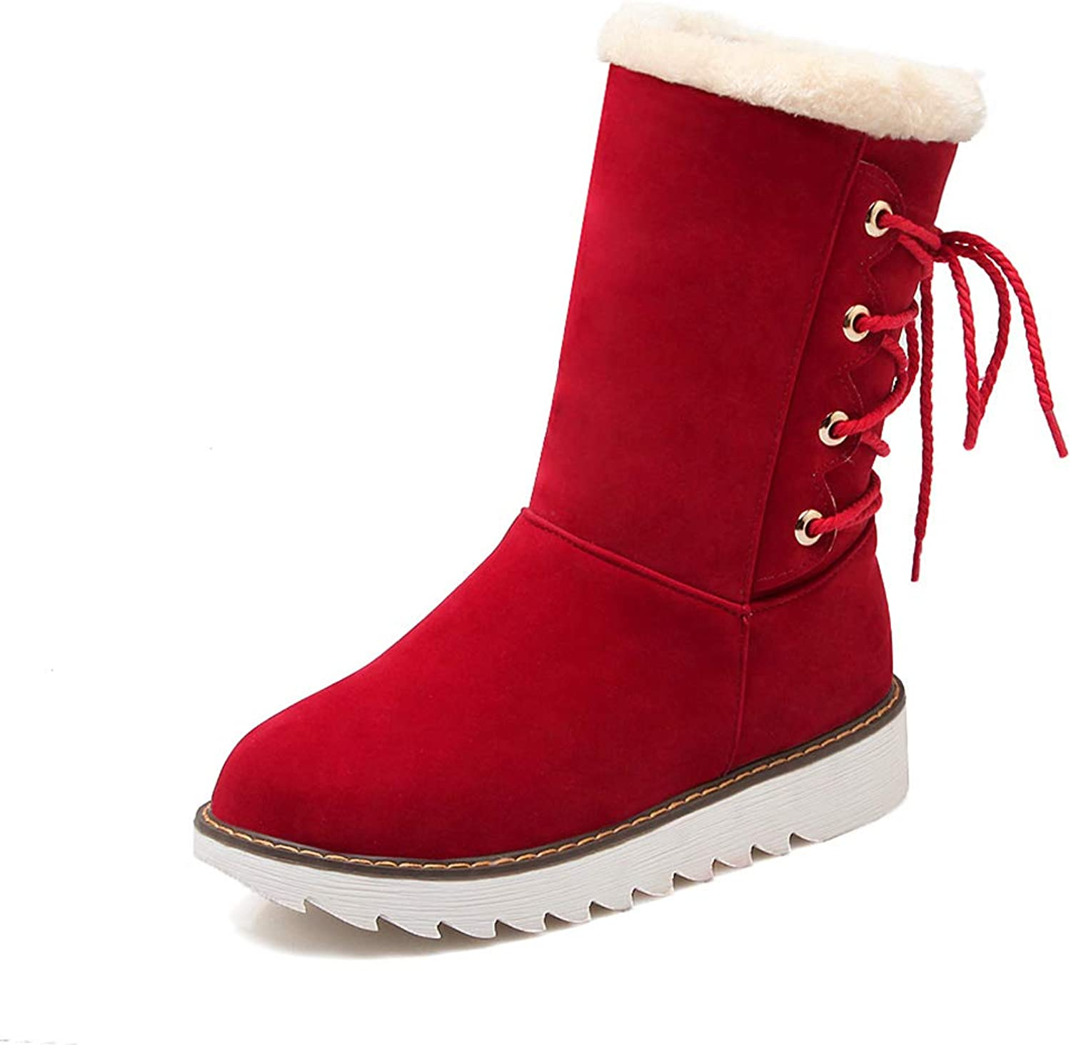 Ladies Booties, Fall Winter Tube Wedge Snow Boots Women's Comfortable Casual Flat Fashion Boots (color   A, Size   39)