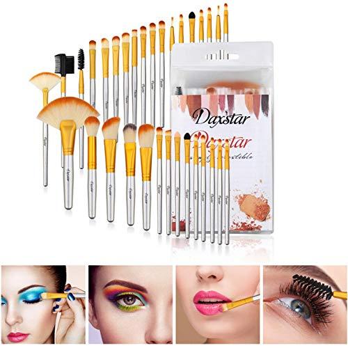 Lot de 32 pinceaux de maquillage 32 pinceaux de maquillage couleur champagne, emballage en PVC, instructions et logo (français non garanti).