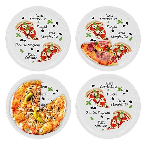 4er Set Pizzateller Margherita groß - 30,5cm Porzellan Teller mit schönem Motiv - für Pizza / Pasta, den \'großen Hunger\' oder zum Anrichten geeignet