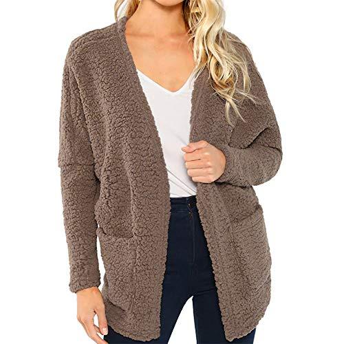 FRAUIT Dames Cardigan pluche korte wollen jas bovenstuk met lange mouwen winterjas doorgestikte jas warme outwear ritssluiting lange mouwen effen parka
