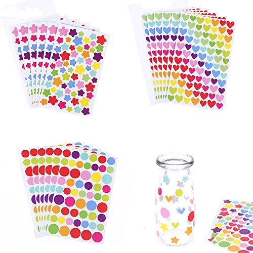 FineFun Kleurrijke decoratieve gekleurde stippen harten sterren lijm Sticker Tape Kids Craft Scrapbooking (18 Sheet)