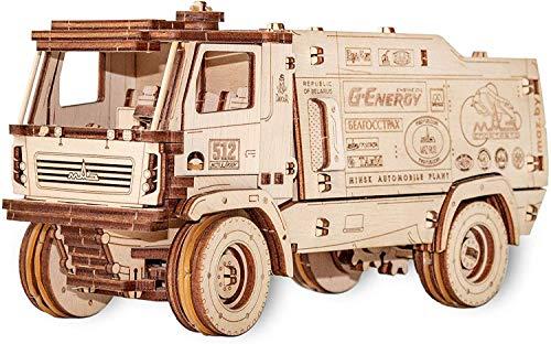 EWA Eco-Wood-Art 5309RR EWA EcoWoodArt 3D Holzpuzzle für Jugendliche und Erwachsene-Mechanisches Dakar Racing Truck MAZ Modell-DIY-Bausatz, Selbstmontage, kein Kleber erforderlich