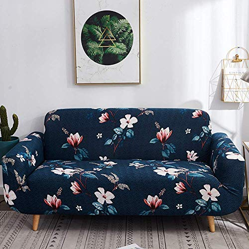 House of Quirk Universal Triple Seater Sofa Cover Big Elasticity Cover for Couch Flexible Stretch Sofa Slipcover Floral Prints, (Triple Seater, Dark Blue Lotus), Polyester & Spandex.