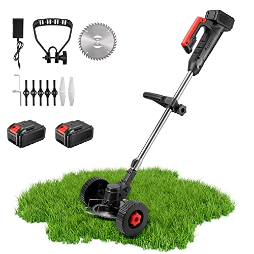 String Trimmer 36V Cordless/ Edger, Length Adjustable, Powerful & Lightweight/ with Telescopic Pole, Replacement Blades, Wheels and Spare Battery