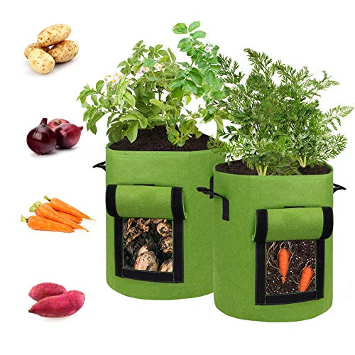 Hugro Tarfive 2 Pack 15 Gallon Grow Bags NonWoven Aeration Fabric Pots with Handles and...