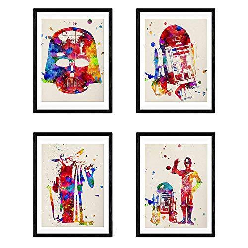 Set de 4 láminas para enmarcar STAR WARS estilo acuarela. Posters con imágenes de la Guerra de las galaxias. Decoración de hogar. Papel 250 gramos alta calidad. Llena de estilo tu casa. Nacnic