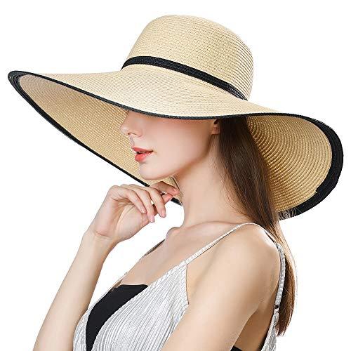 Comhats - Cappello da sole a tesa larga, protezione UFP 50, floscio, da donna, estivo, di paglia, pieghevole, ideale da mettere in valigia, accessorio da spiaggia 16025_Beige M