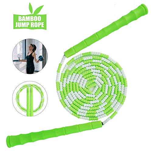 Sooair Springseil Kinder, weiches Perlen-Springseil, Springen Seil mit Anti-Rutsch Griffen, Speed Rope für Fitnesstraining, Boxen, Fett Brennen Übung, Skipping Rope für Kinder und Erwachsene(Grün)