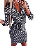 Onsoyours Vestido Largo para Mujer Estilo Militar Double-Breasted Button Mujer Blazer Manga Larga Chaqueta Mini Vestido Oficina Negocios OL Chaqueta Abrigo C Gris 40