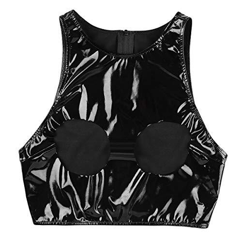 iixpin Damen Ouvert-Oberteile Bustfrei BH Latex Bra Wetlook Glänzende Bustier Push Up Erotische Ouvert-Dessous Crop Top Kostüme Schwarz X-Large
