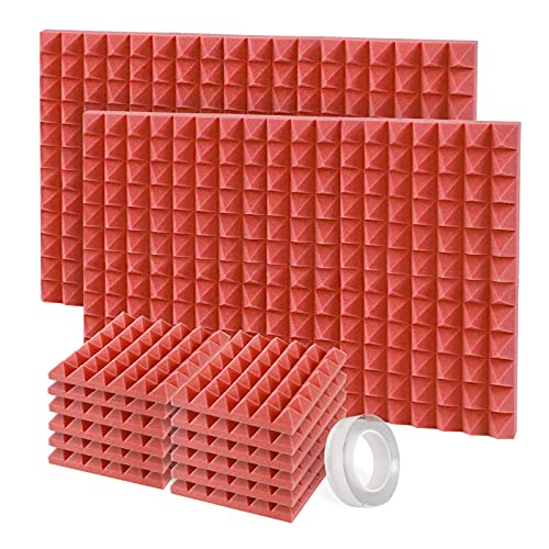 Mousse Acoustique, Paquet de 12 Pyramide Panneaux Acoustiques Mousse Isolante Phonique de 30 X 30 X 5 cm, Soundproof Foam avec Adhésif (Rouge)