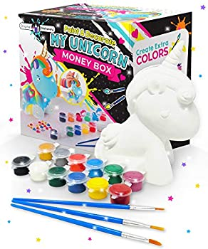 Original Stationery Decorate and Paint Your Own Unicorn Money Box - Kids Paint Set Birthday Gift for Girls with 21 Gems 12 Non Toxic Colors and More!