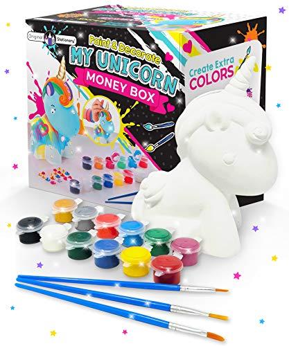 Original Stationery Regalos para Niñas- Hucha Unicornio para Pintar - Kit Pintura para Niñas y Accesorios Infantiles -Pinceles, Colores y Gemas - Regalo Niña 3 4 5 6 7 8 9 Años