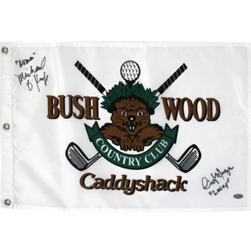 Find Bargain Steiner Sports PGA Caddyshack Michael O'Keefe Dual Signed Golf Pin Flag with Lacey, Noo...