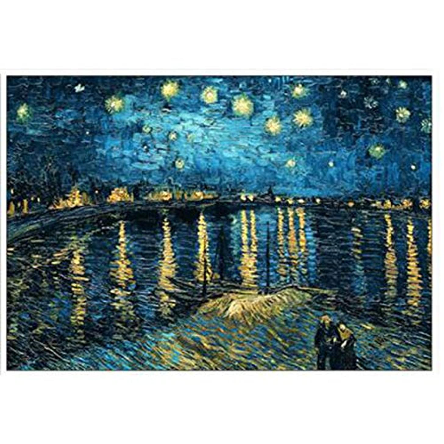 Farsla Starry Night on The Rhone River by Van Gogh 5D DIY Round Full Diamond Painting by Number Kit Mosaics Rhinestone Painting for Wall Decor 12X16inch